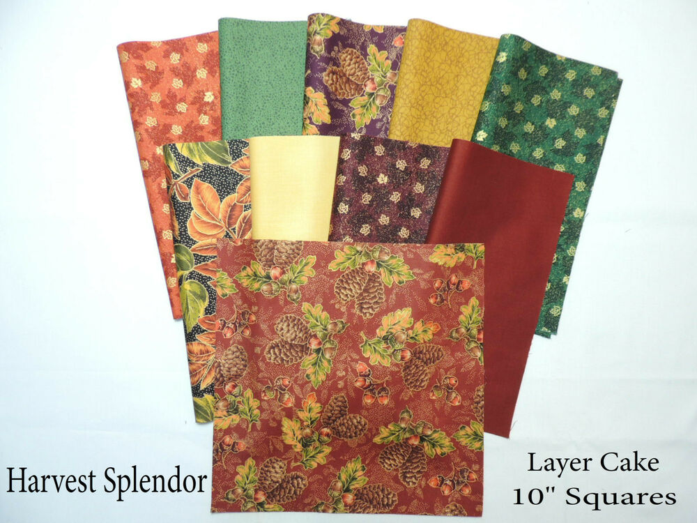 Gold Accented Fall Leaves Layer Cake 40 10 Quot Squares