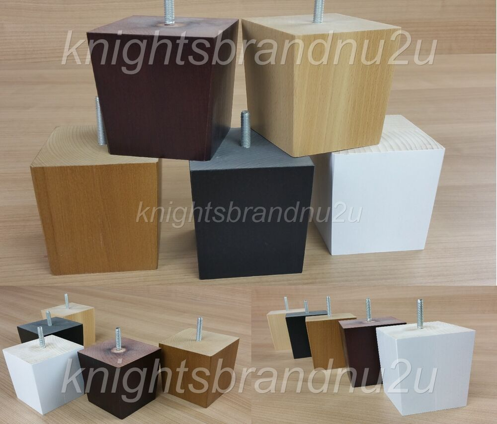 4x solid wood replacement furniture legs feet sofas settees chairs m10 10mm ebay. Black Bedroom Furniture Sets. Home Design Ideas