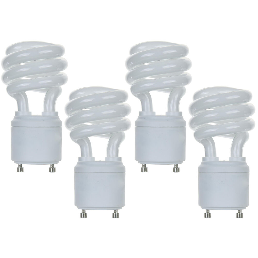 New 13w Cfl Mini Spiral Gu24 Base 4100k Cool White 60w Fluorescent Light Bulb 4 Ebay