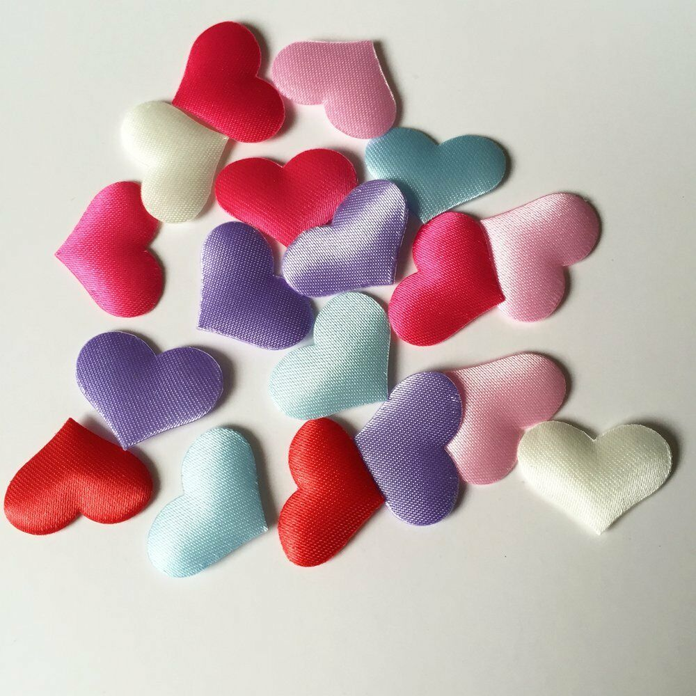 100pcs padded felt heart applique sewing trim diy wedding for Applique decoration