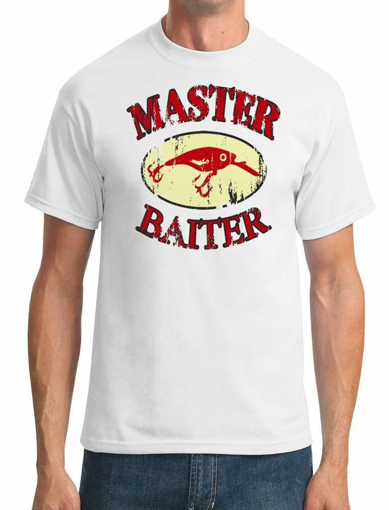Master baiter funny fishing mens t shirt ebay for Funny fishing t shirts