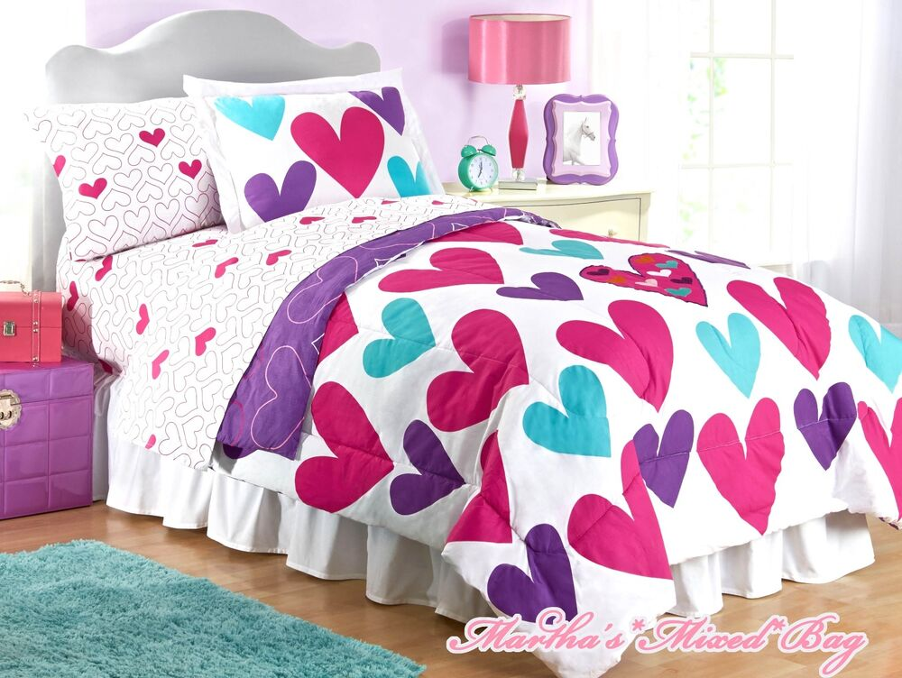 Teen Girls PiNK TEAL HEARTS Twin OR Full Size 100% COTTON Comforter Set+PILLOWS | eBay