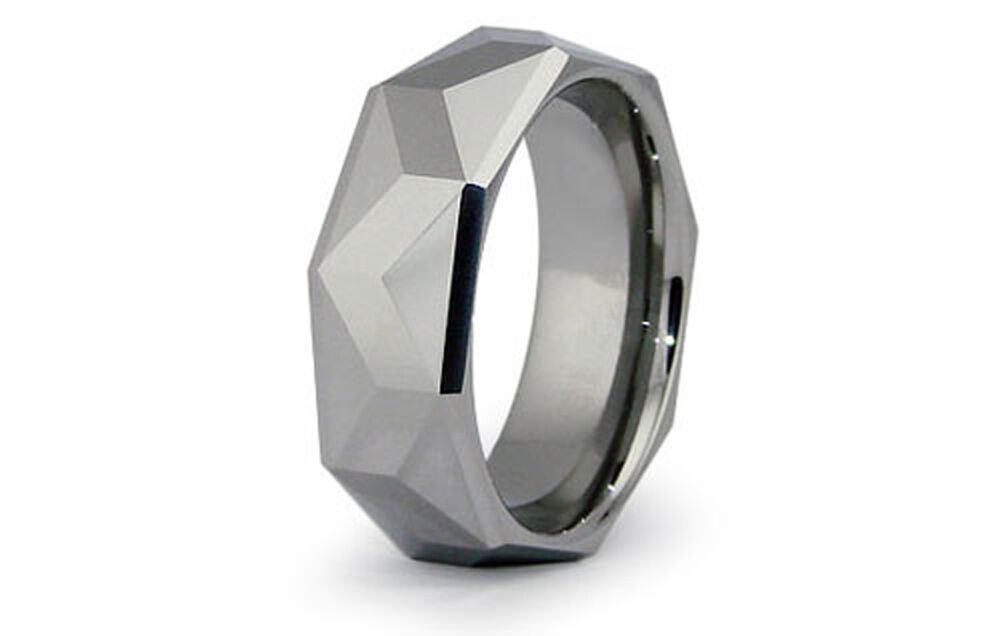 Tungsten Carbide High Polished Faceted Wedding Band Promise Ring 8MM