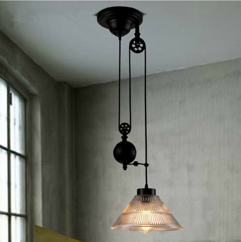 New Hot Vintage Edison Industrial Pulley Pendant Lights W