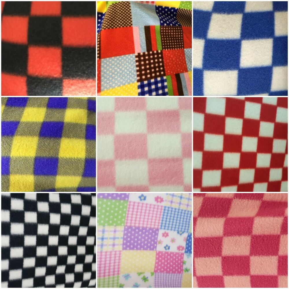 Checkers polar fleece fabric by the yard ebay for Fabric by the yard