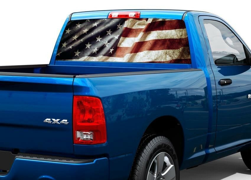 Patriotic American Flag Vintage Rear Window Decal Sticker