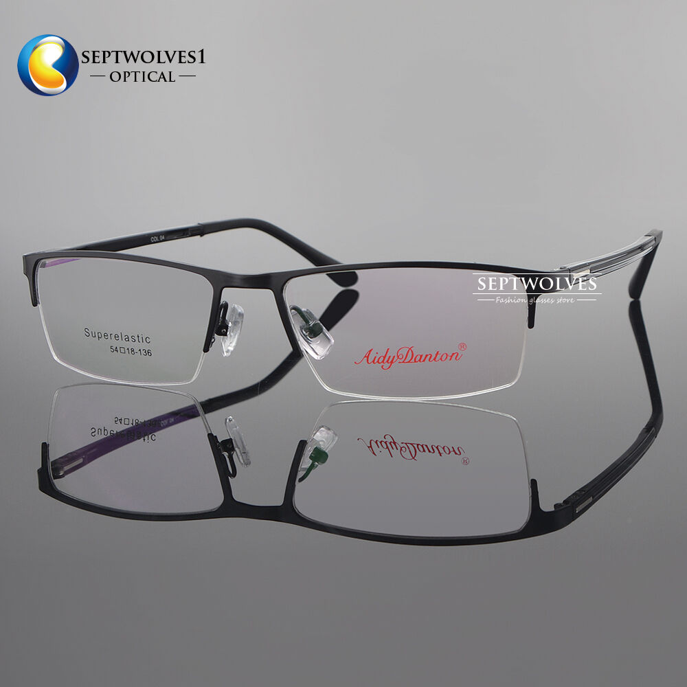Metal Spectacles for Men Glasses Optical Half Rimless ...