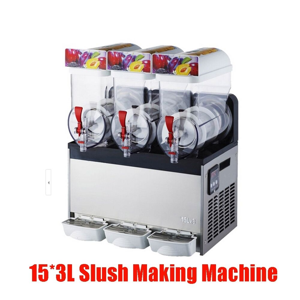 commercial 3 tank frozen drink slush slushy making machine smoothie maker ebay. Black Bedroom Furniture Sets. Home Design Ideas