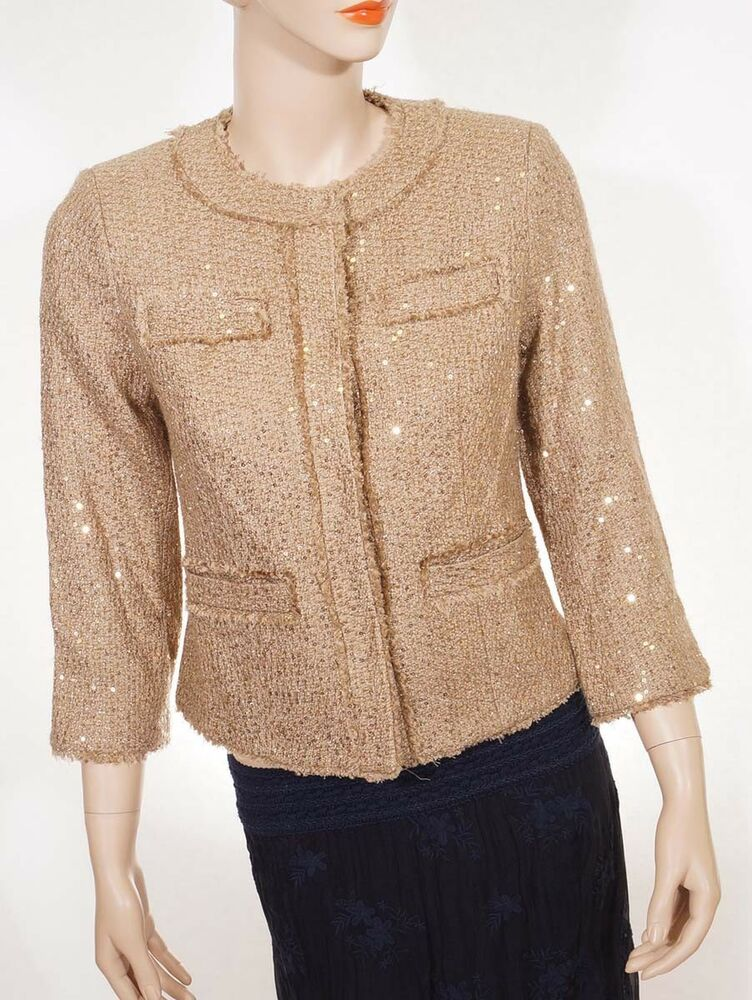 Michael Kors Womens Brown Sequined Boucle Fringe Tweed