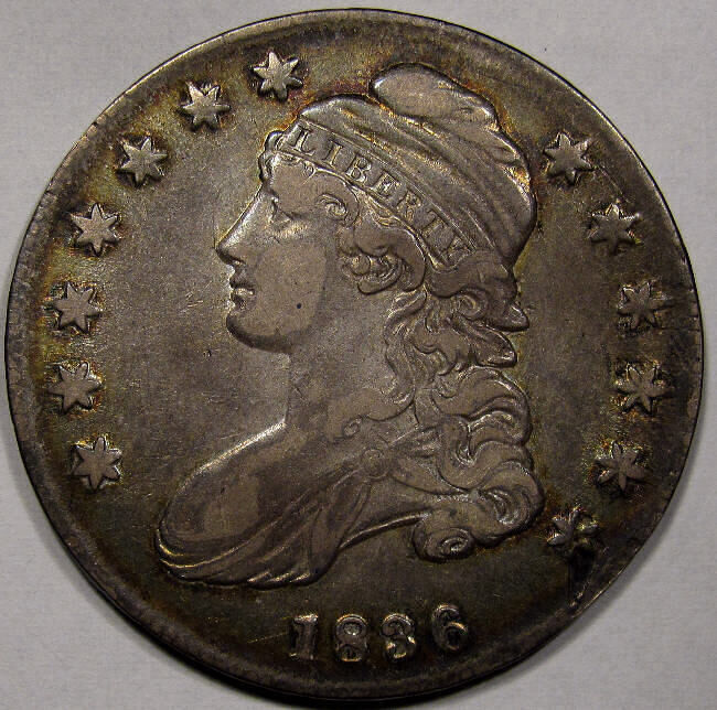 1836 Capped Bust Half Dollar Au Gold Flake Rim Toning