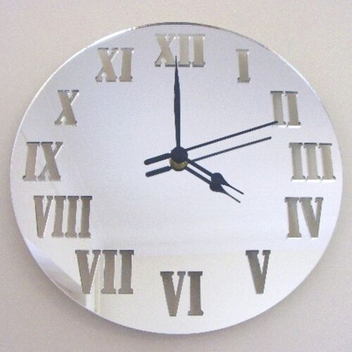 Round Roman Numeral Clock Acrylic Mirror Several Sizes