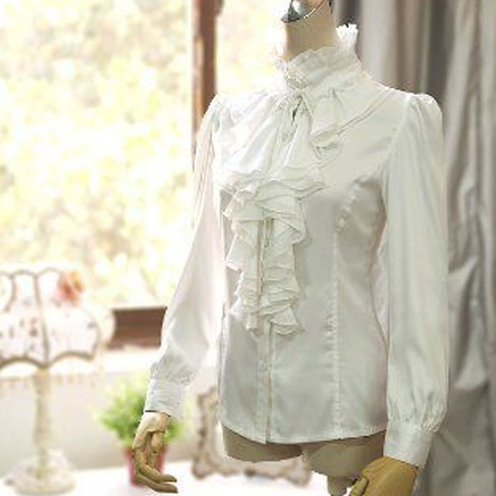 Vintage victorian long sleeve t shirt tops high neck for Tops shirts and blouses