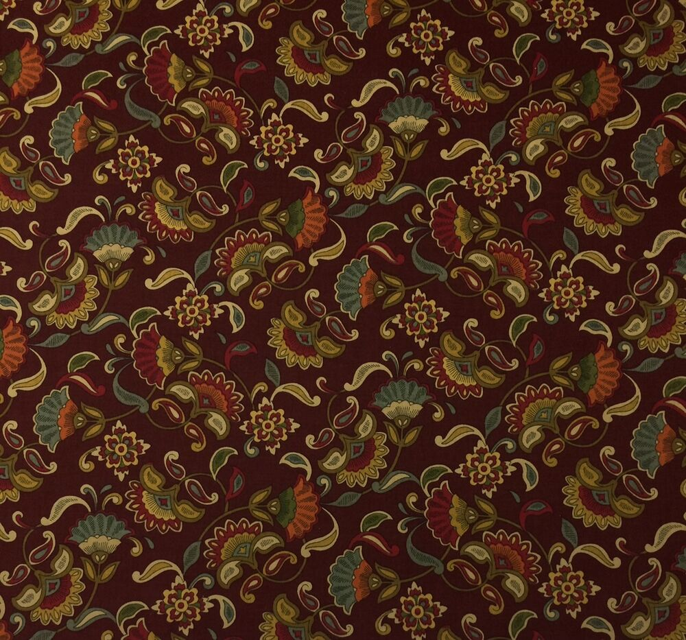 Richloom jacobean floral scarlet red blue multiuse fabric for By the yard fabric