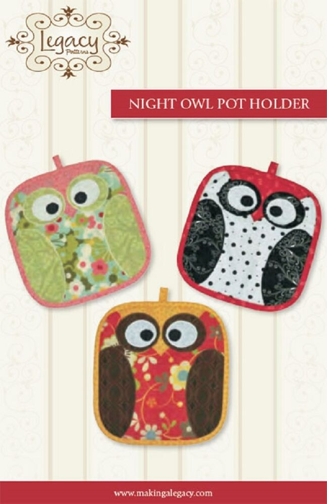 Night owl potholders by legacy patterns pattern pattern for Crafts that sell on ebay