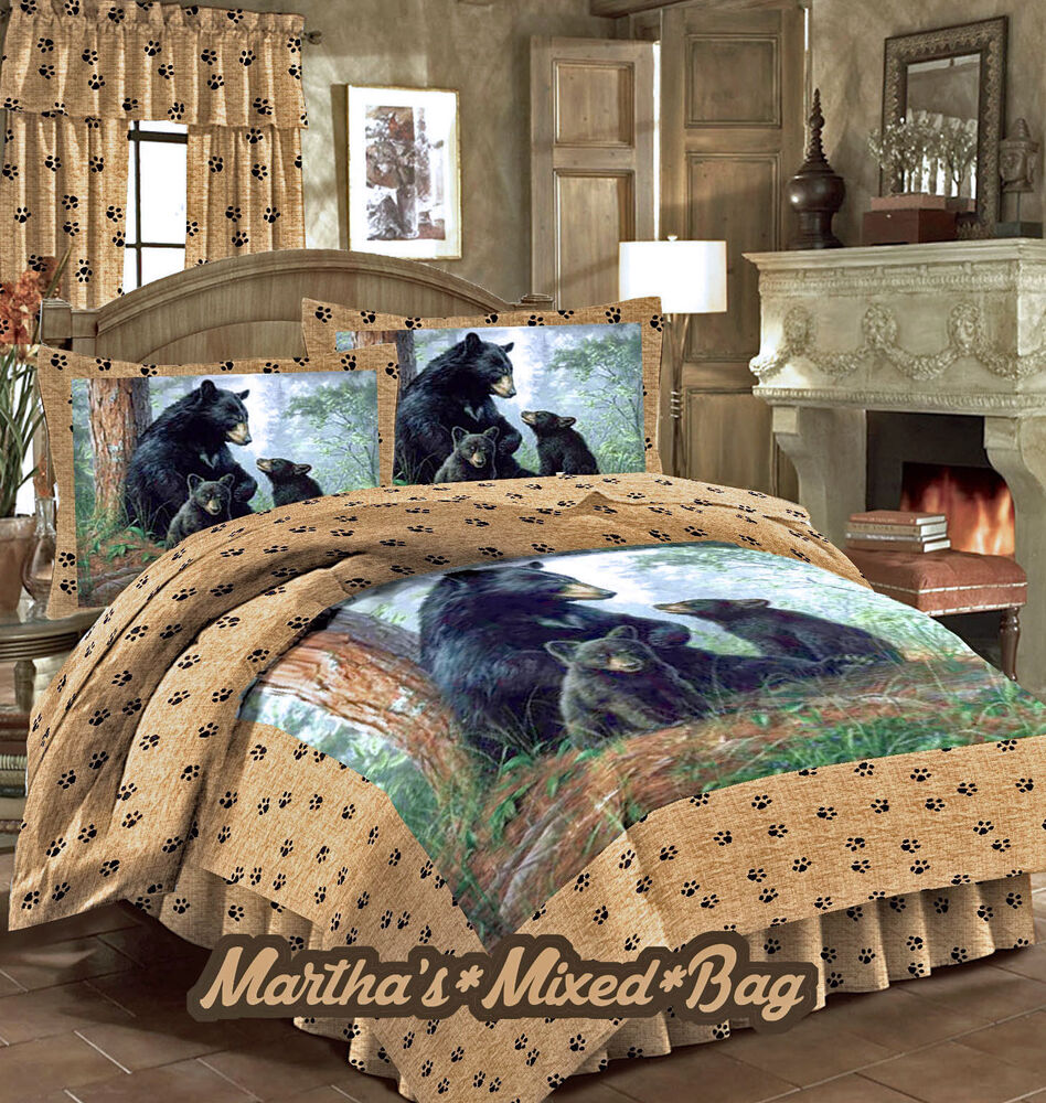 Bear cub bedding hunting lodge cabin wild life 4 5pc for Hunting cabin bedroom