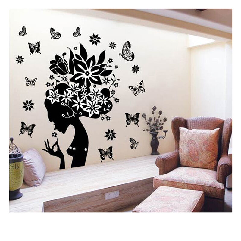 flower elf vinyl wall sticker removable decal home decor diy art mural stickers ebay. Black Bedroom Furniture Sets. Home Design Ideas