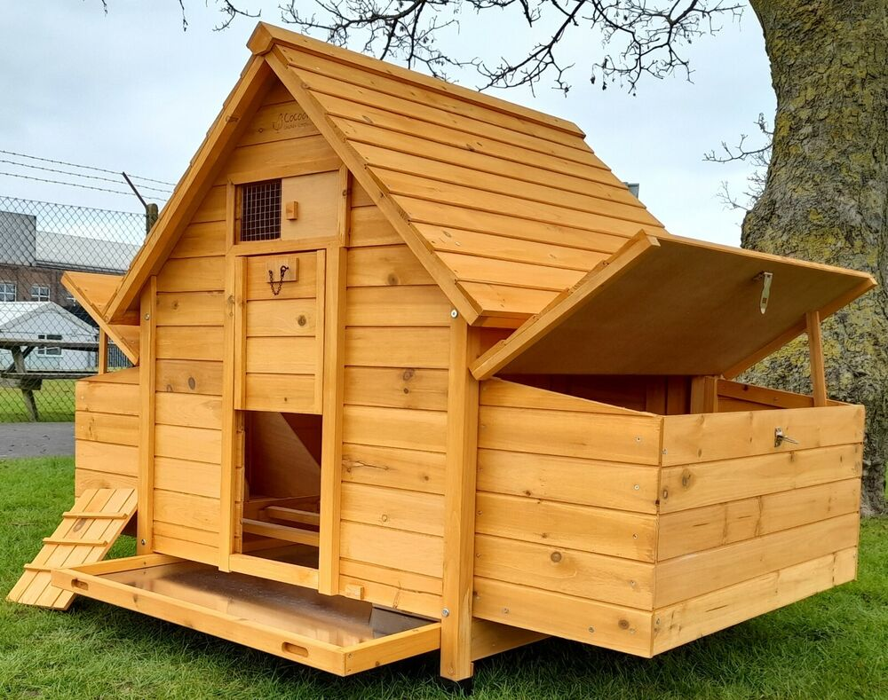Large chicken coop run hen house poultry ark home nest box for Large chicken house