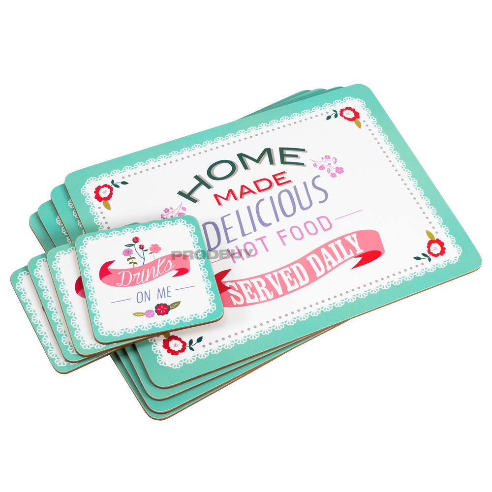 Set of 4 Placemats amp Coasters Retro Home Diner Cafe Dinner  : s l1000 from www.ebay.co.uk size 1000 x 1000 jpeg 109kB