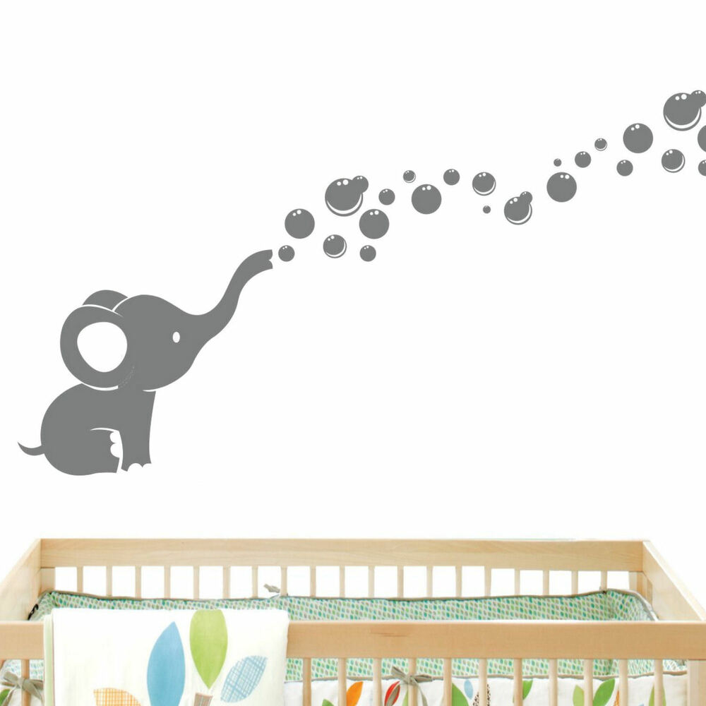 Elephant bubbles baby wall decal vinyl wall nursery room for Baby room decoration wall stickers