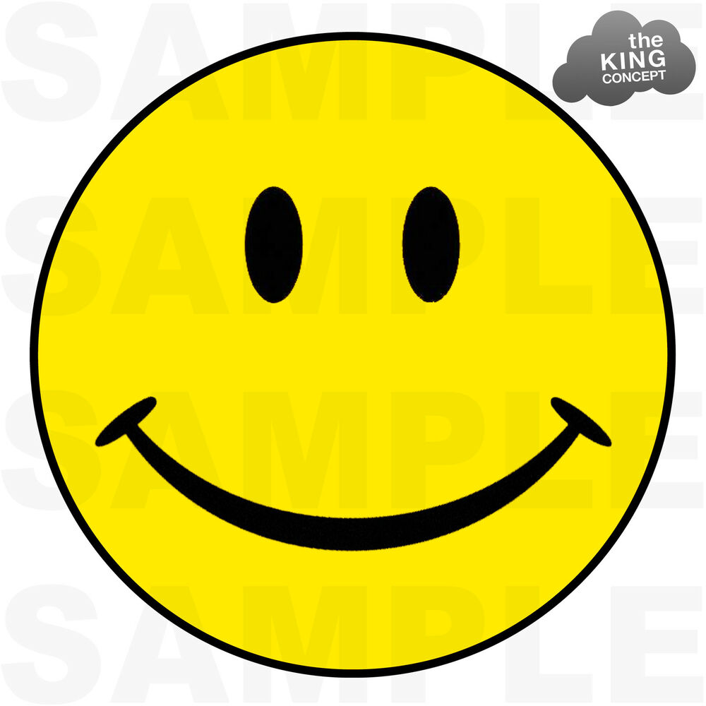 Smiley Face Iron On T-Shirt Transfer Yellow Acid House ...