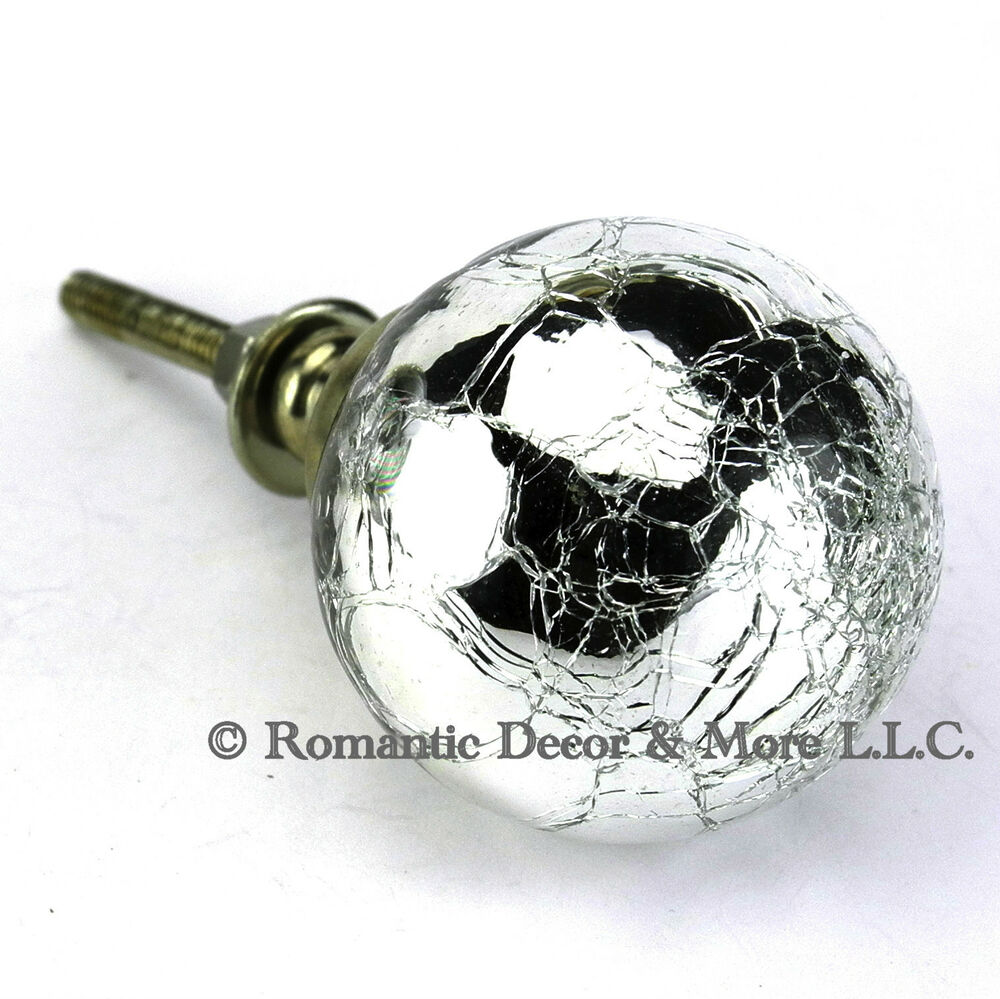 3 Pc Crackle Mercury Glass Cabinet Knobs Kitchen Drawer