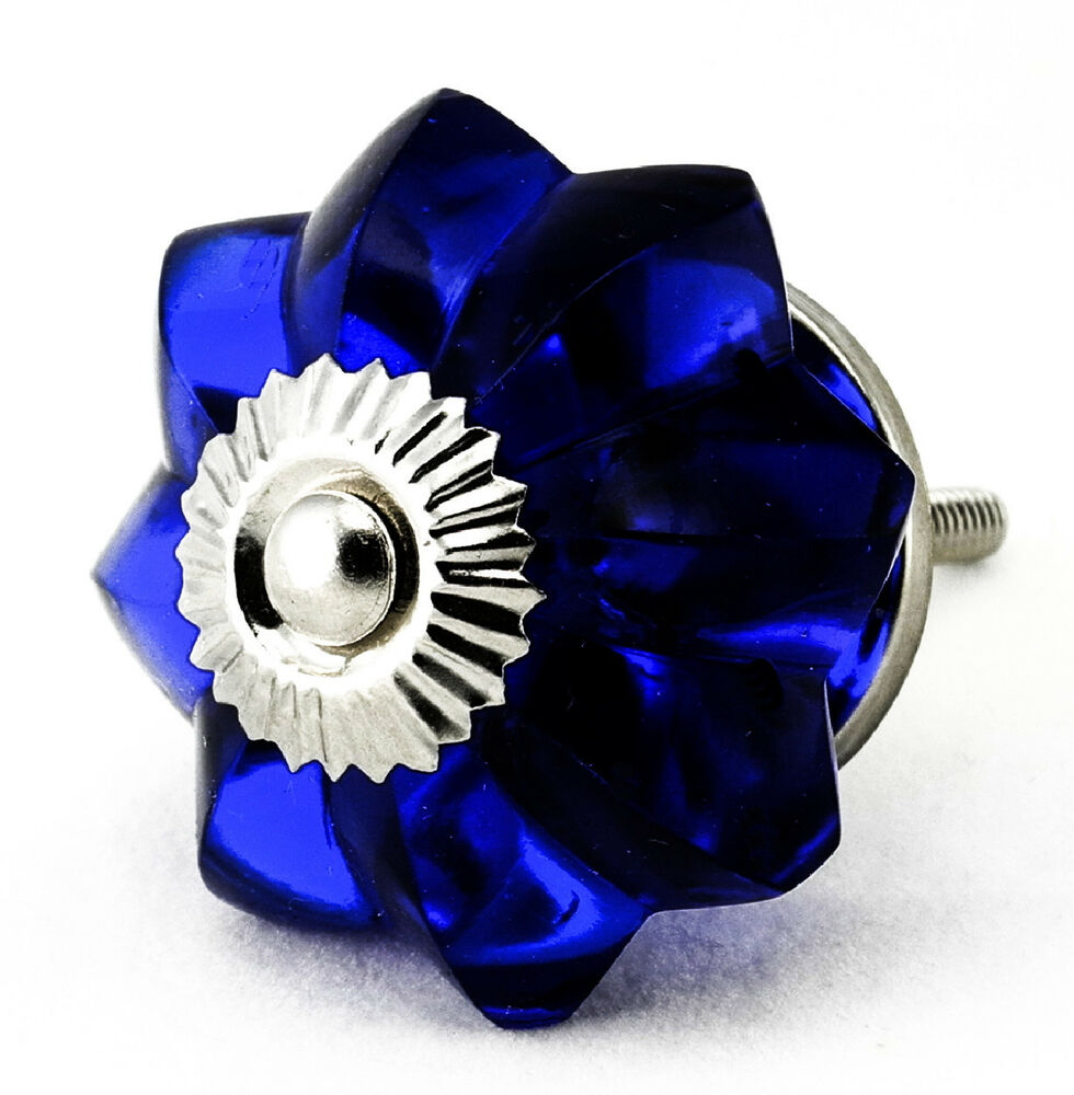 Cobalt Blue Glass Kitchen Cabinet Knobs, Drawer Handles K65  eBay