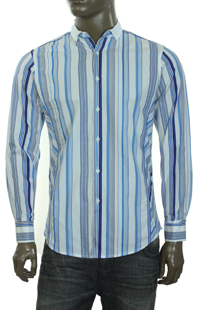 New Mens Inc Long Sleeve French Cuff White Stripe Dress
