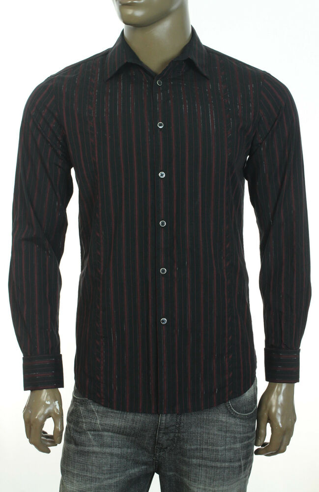 New mens inc long sleeve french cuff red stripe dress for Mens dress shirts french cuffs