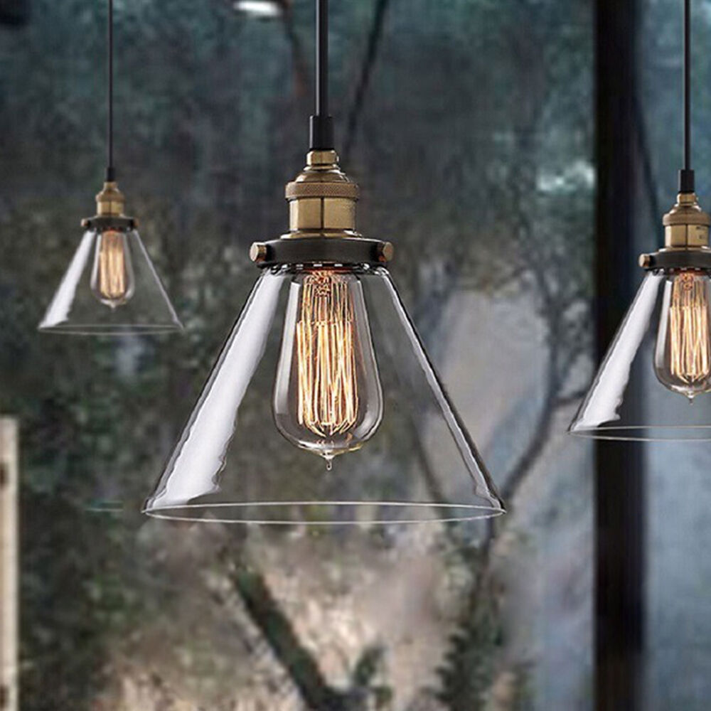 Retro vintage industrial metal loft glass lamp ceiling for Suspension metal cuisine
