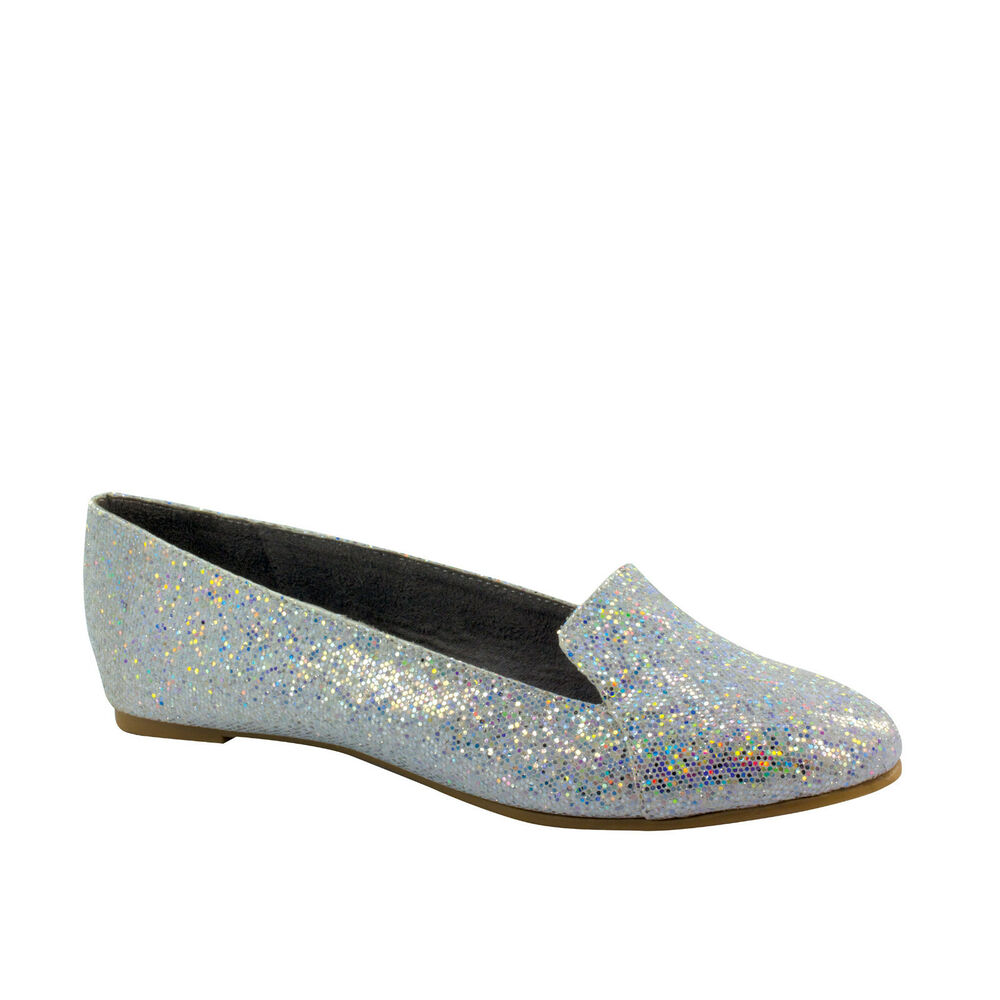 Silver Flat Evening Shoes