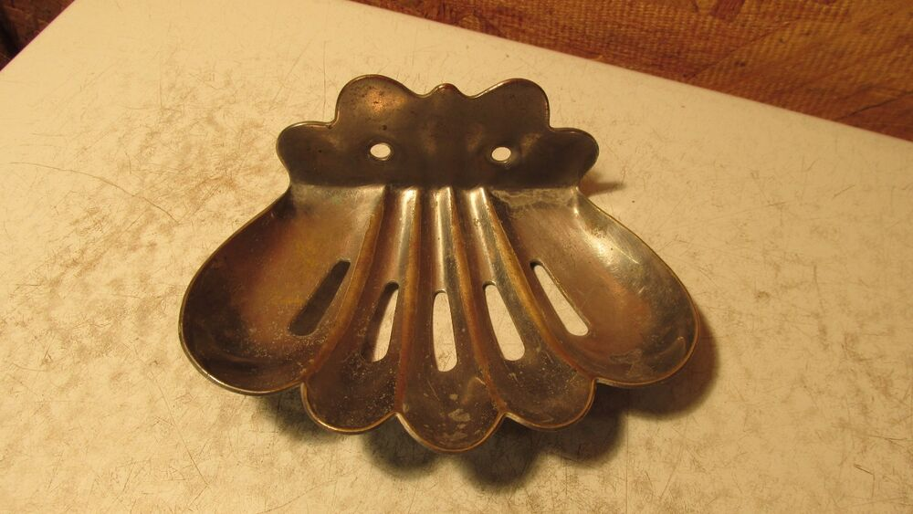 Antique Nickel Plated Brass Shell Soap Dish Ebay