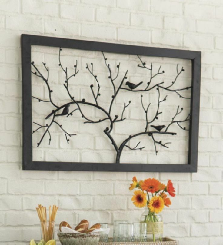 Modern Metal Tree Bird Wall Decor Contemporary Rustic