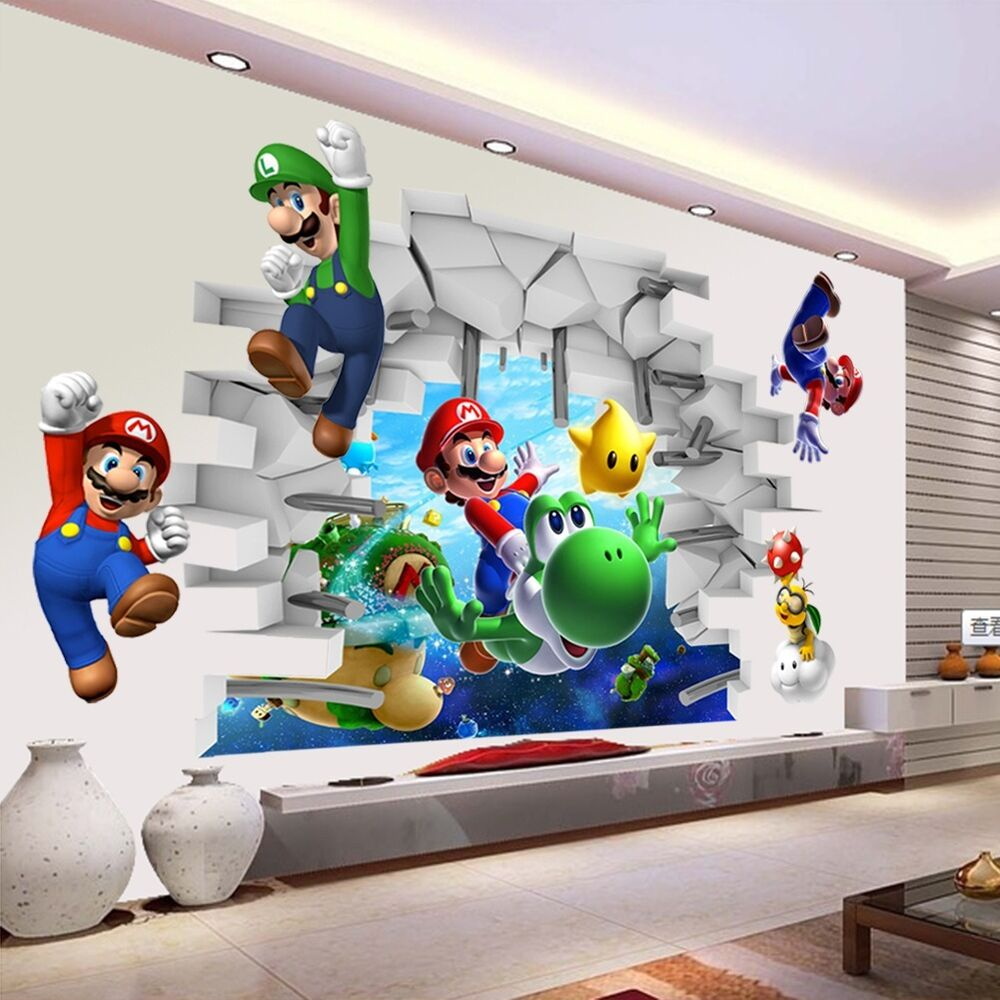Super mario cracked wall mural vinyl wall decals sticker for Mural alternatywy 4