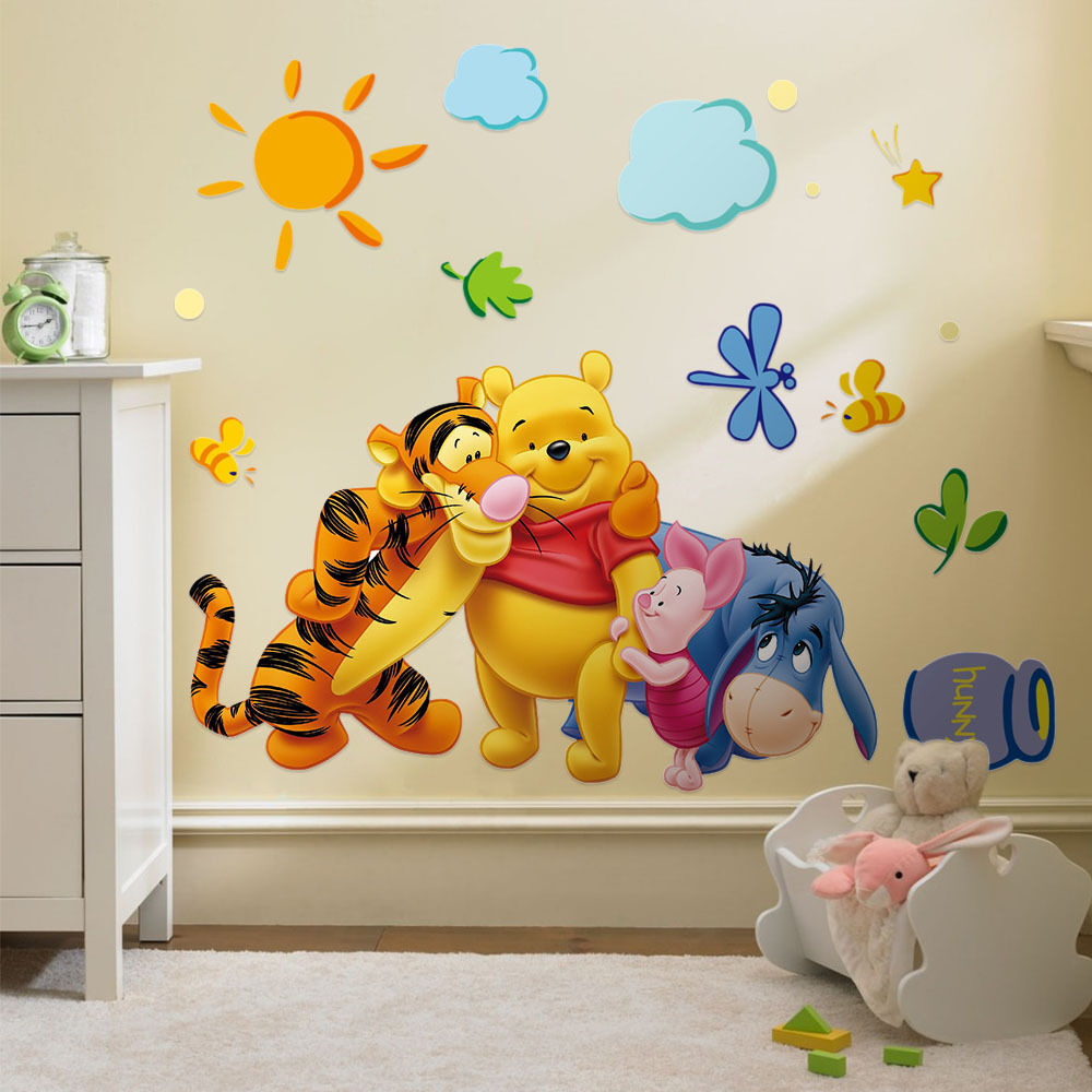 Winnie the pooh vinyl mural wall sticker decal removable for Wall decals kids room