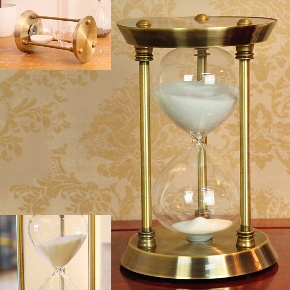 15 30 minutes metal bronze sand glass timer hourglass