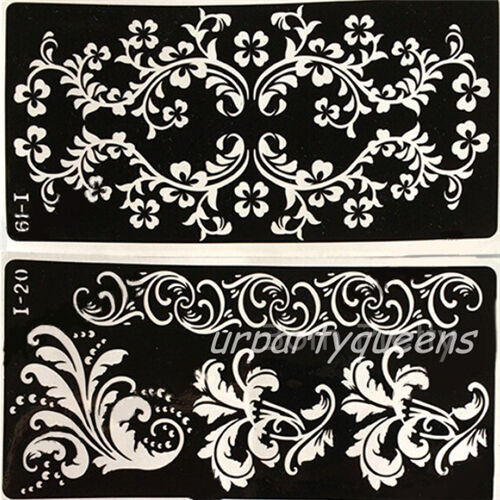 flower tattoo stencil painting templates mehndi henna temporary airbrush tattoo ebay. Black Bedroom Furniture Sets. Home Design Ideas