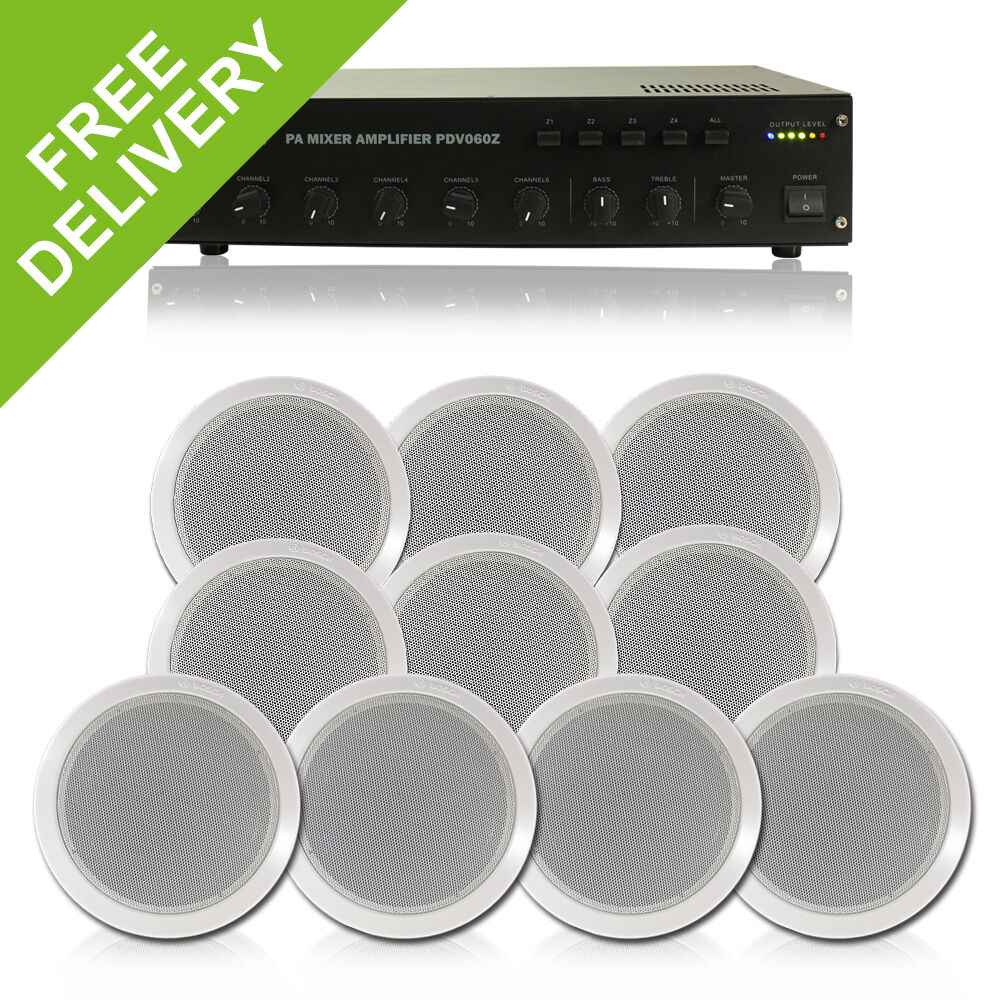 10x Bosch Wall Ceiling Speakers Background Music Pa System