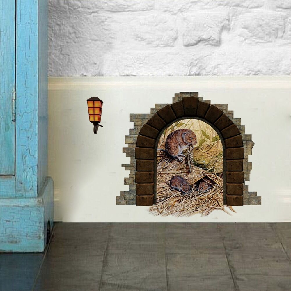 Mini mice mouse hole house door wall decals mural sticker for Door mural stickers