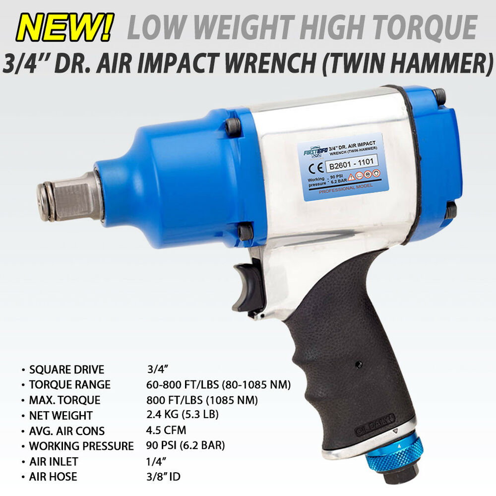 Fit Tools 3 4 Heavy Duty Air Impact Wrench 8 Torque Selection 1085nm 800ft 636946341961 Ebay