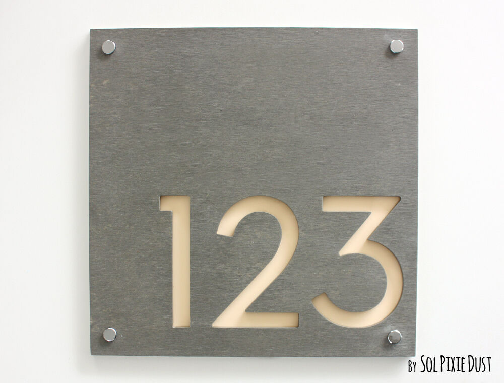 modern house numbers square concrete beige acrylic sign plaque door number ebay. Black Bedroom Furniture Sets. Home Design Ideas