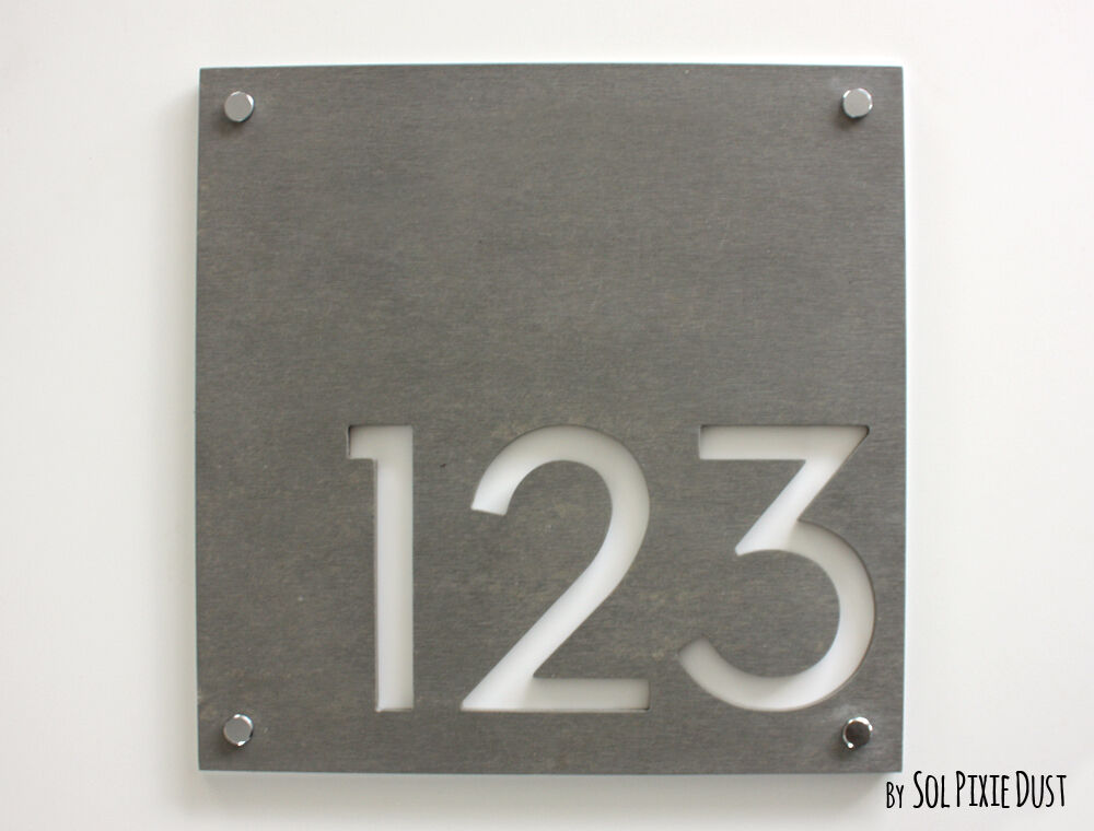 modern house numbers square concrete white acrylic sign plaque door number ebay. Black Bedroom Furniture Sets. Home Design Ideas
