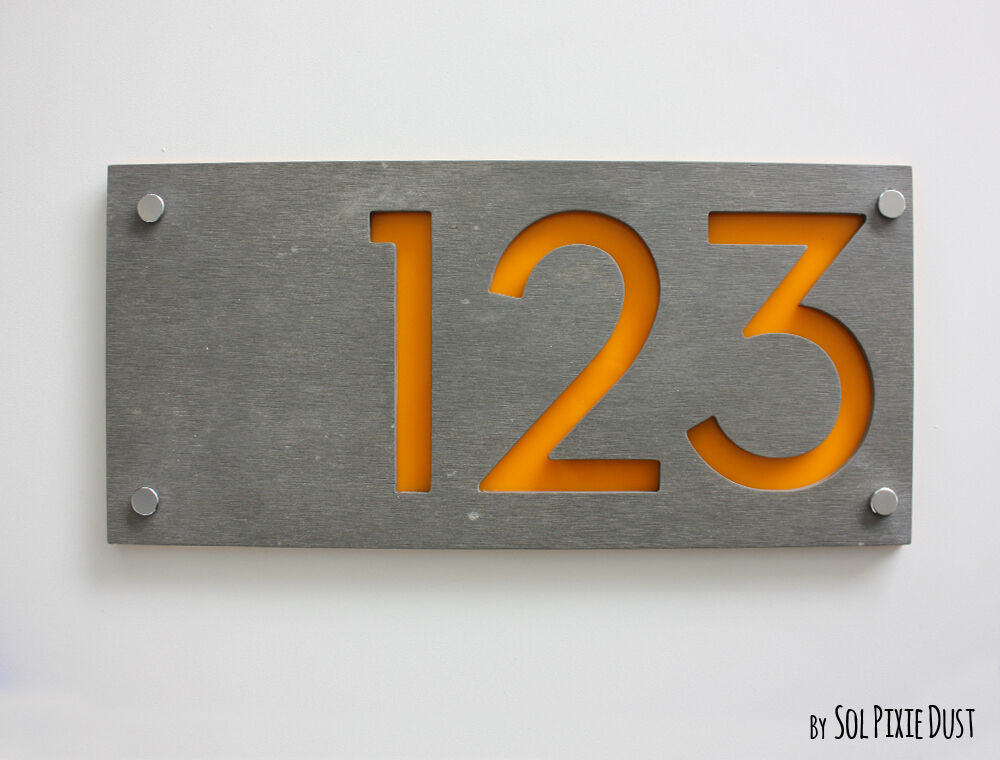Modern house numbers concrete yellow acrylic sign for Modern house number plaques