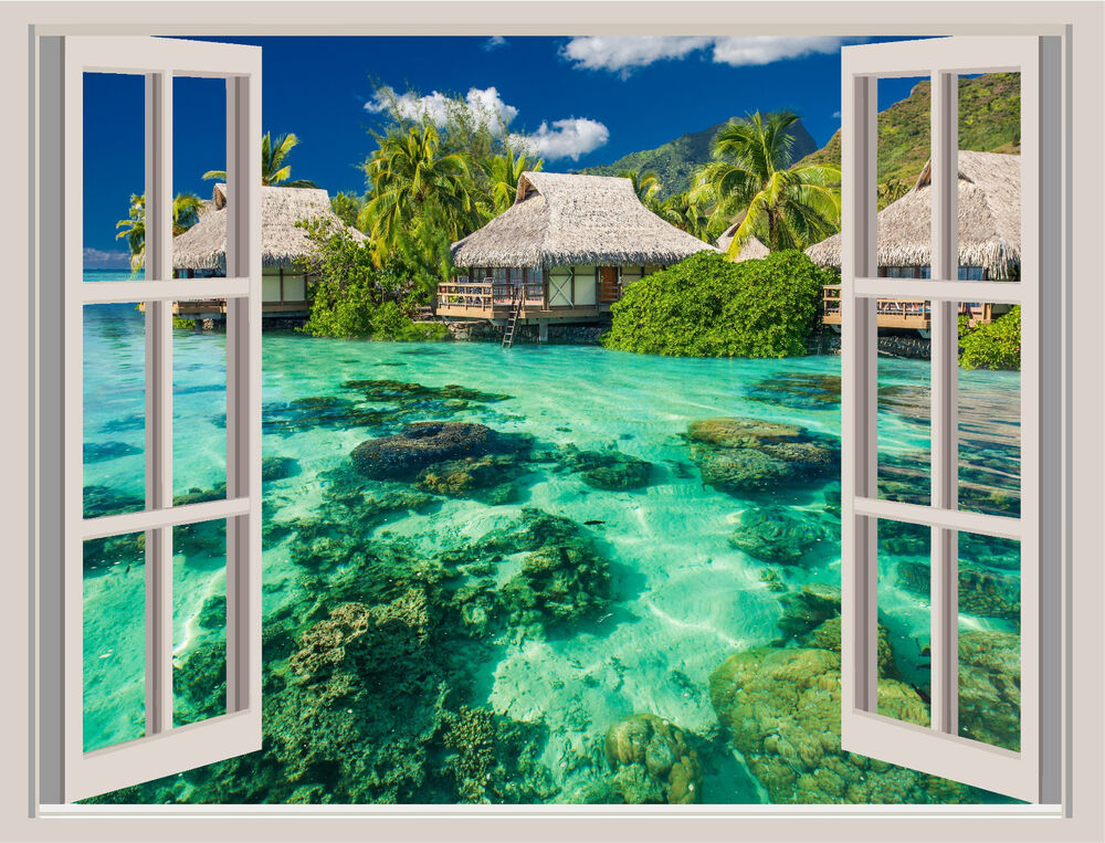 Tropical island beach window view repositionable wall for Beach view wall mural