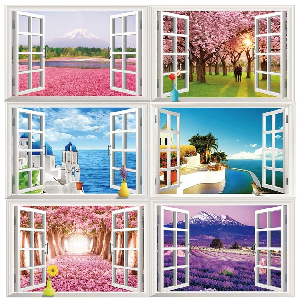 wholesale 3d window ocean beach wall sticker decals room decor vinyl removable s ebay. Black Bedroom Furniture Sets. Home Design Ideas