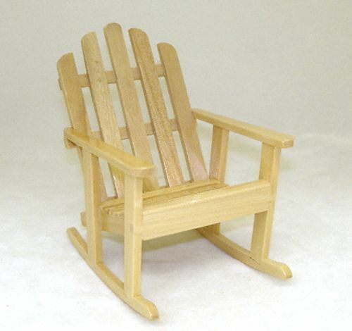 Miniature Wood Adirondack Chair Rocking Chair Rocker for 1:12 Scale ...
