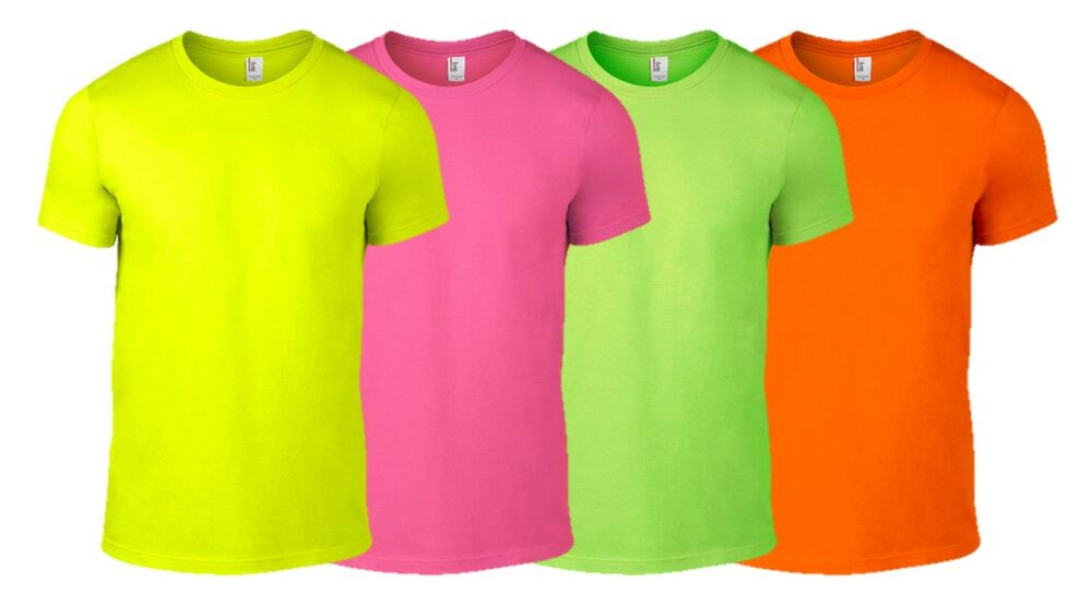 Anvil mens neon t shirt s 2xl fluorescent bright party for Neon green shirts for men