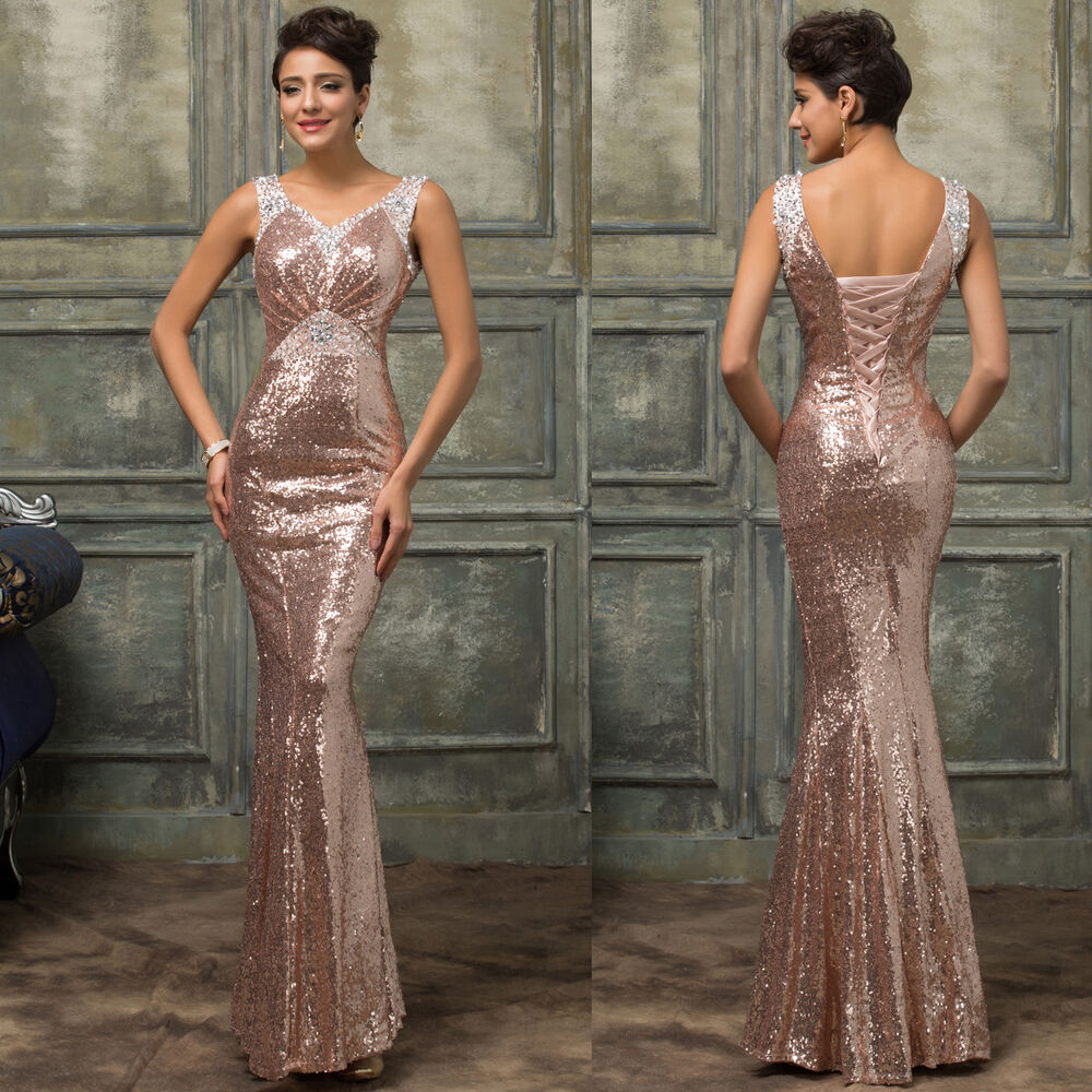 Mermaid Sequins Long Bridesmaid Prom Gown Ball Party