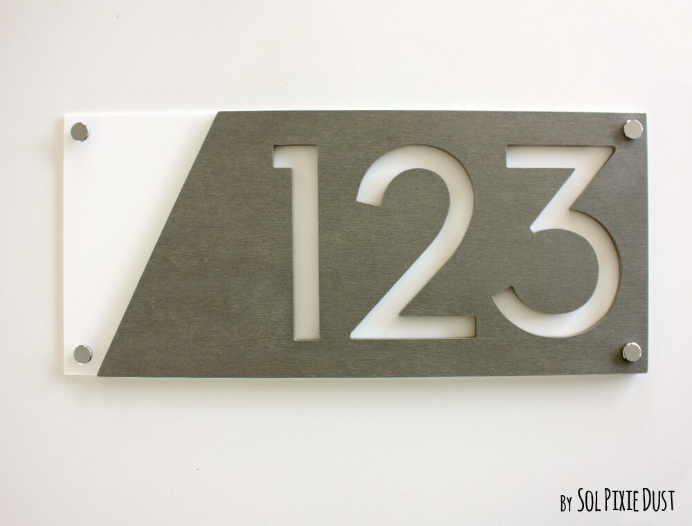 Modern house numbers concrete white acrylic sign for Modern house number plaques