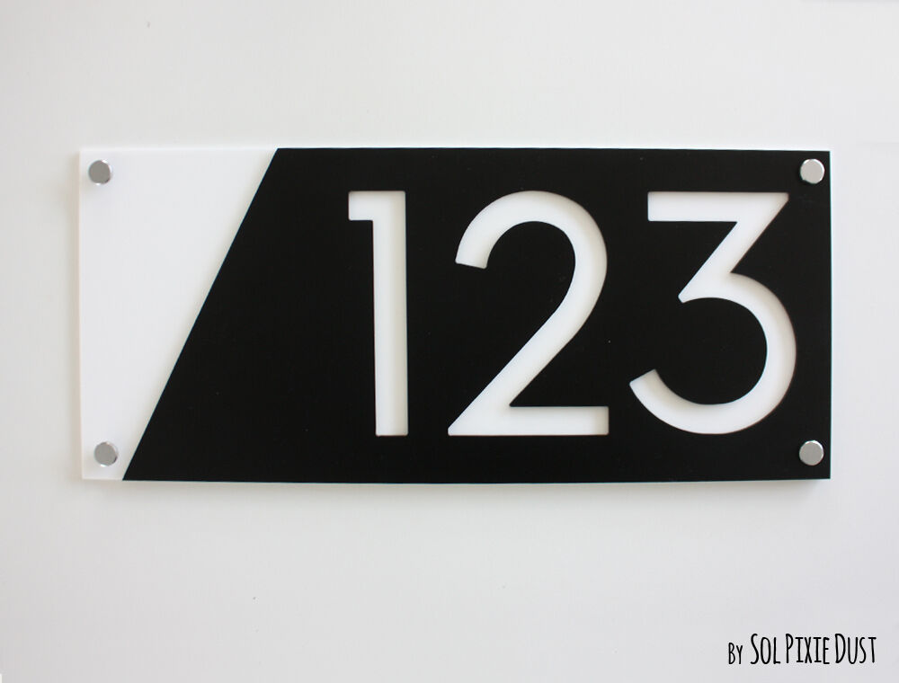 Modern house numbers black with white acrylic sign for Modern house number plaques