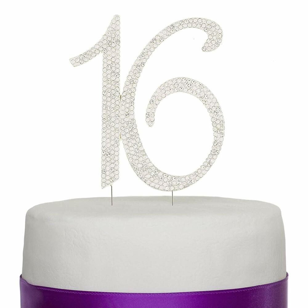 Sweet 16 Sixteen Birthday Cake Topper Silver Number